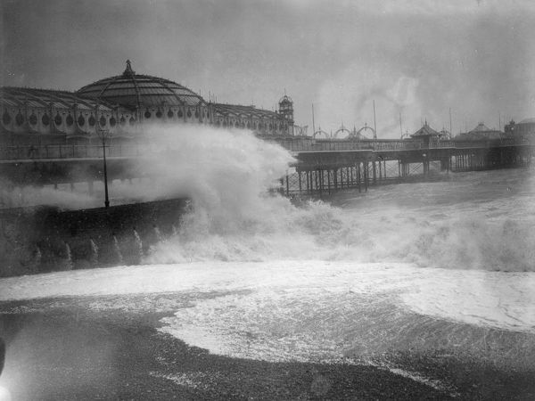 Stormy Weather. December 1928: Rough seas at Brighton. (Photo by Fox Photos/Getty Images)