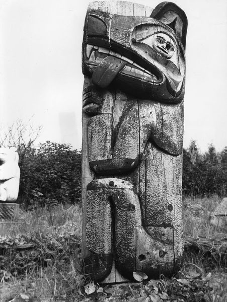 circa 1955: Half of a restored totem pole in Wrangell, Alaska. (Photo by Three Lions/Getty Images)