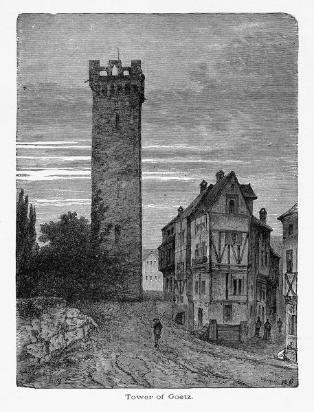 Beautifully Illustrated Antique Engraved Victorian Illustration of Tower of Goetz in Heilbronn, Germany Circa 1887. Source: Original edition from my own archives. Copyright has expired on this artwork. Digitally restored