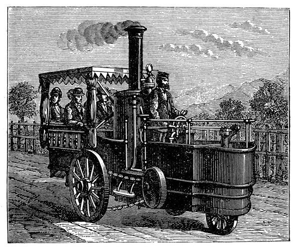 Illustration of a Traction Engine, Or Steam Car, Invented By M. Lotz From Nantes
