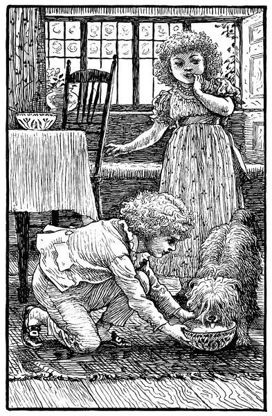 Two Victorian children feeding a shaggy dog. Illustration by Walter Crane from a??Us - An Old Fashioned Storya?? by Mrs Molesworth, published by Macmillan & Co Ltd, London, in 1899