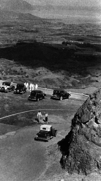 Vintage image of cars at lookout point