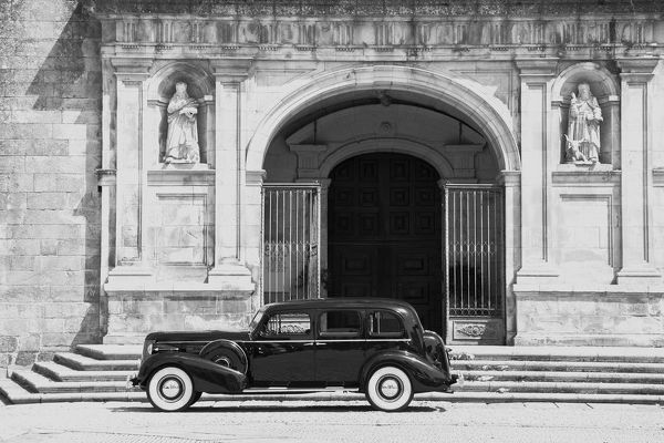 Viseu Cathedral with a vintage car