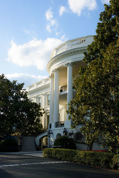 A view of the White House South Portico from the driveway