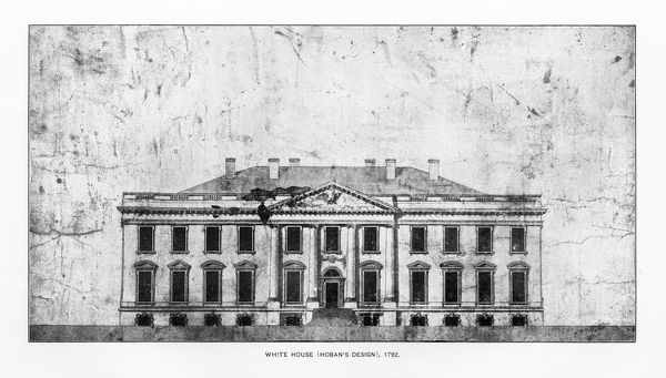 Antique American Photograph: Early drawing of The White House, Washington, D