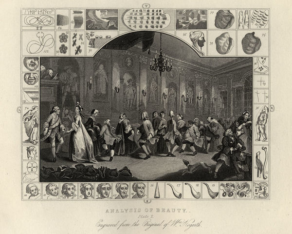 Vintage engraving of William Hogarth The Analysis of Beauty, Plate 2