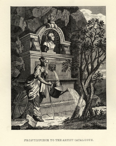 Vintage engraving of by William Hogarth, Fontispiece to the Artist Catalogue. Britannia watering the trees of creativity, painting sculpture and architecture