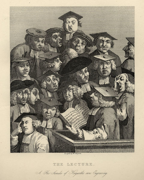 Vintage engraving of William Hogarth Scholars at a Lecture