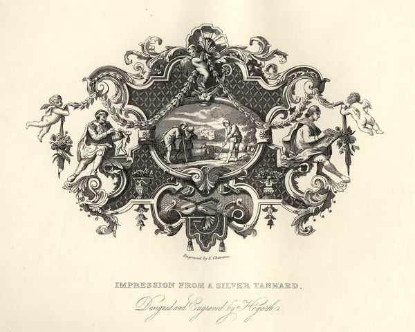Vintage engraving of William Hogarth's, William Hogarth's, Design from a silver tankard, Agriculture scene