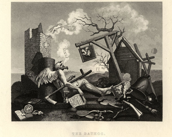Vintage engraving of William Hogarth's, Tailpiece, or The Bathos, The World's End