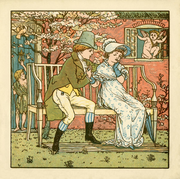 A young couple in Regency style clothing on a garden seat. The young man is apparently trying hard to woe the young lady while cupid waits in a nearby window. From aThe Babyaas BouquetaA by Walter Crane, published in 1878 by George Routledge & Sons