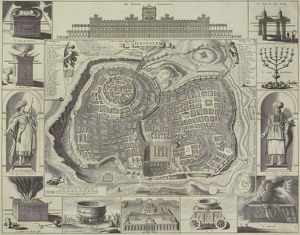 Antique map of Jerusalem and vignettes of events and artifacts