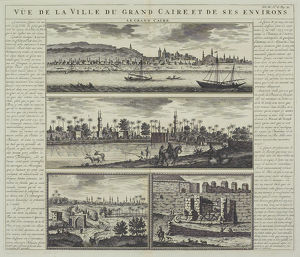 Antique engraving depicting landscape of Cairo