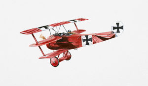 Illustration of World War One Fokker Triplane in mid-air