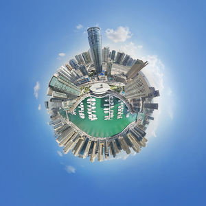 360A° Aerial Little Planet of Dubai Marina