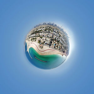 360A° Aerial Little Planet of Jumeirah Beach, Dubai