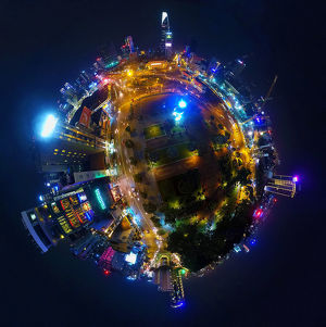 360A° Aerial Night View of Saigon's Downtown
