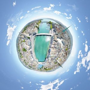 360A° Aerial Panorama of Zurich's Old Town
