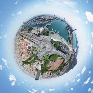 360A° Aerial View of Barcelona Harbor, Spain