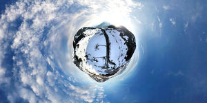 360A° Aerial View of Winter in Gstaad, Switzerla