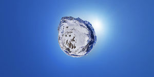 360A° aerial view of winter in Verbier, Switzerland