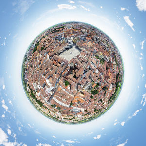 360A° Air View of Piazza Cavour, Italy