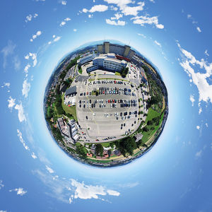 360A° Little Planet of Buildings in Fribourg, Switzerland