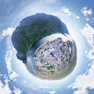360A° Little Planet of Mosjoen, Norway