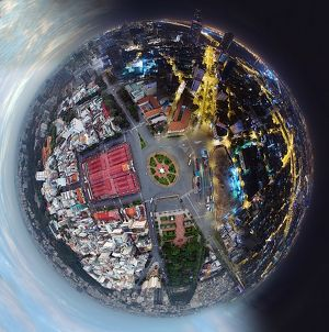 360A° Little Planet of Saigon's Day and Night