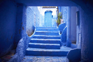 Steps and courtyard of blue historical building, Chefchaouen, Chefchaouen, Morocco