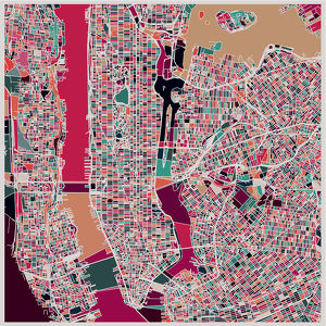 abstract color lump pattern,art map of New York city