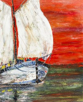 Acrylic oil painting of sailboat on ocean.