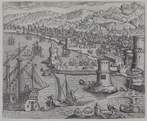 Antique print depicting busy port with towers