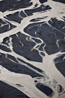 Aerial of glacial riverbed, Iceland