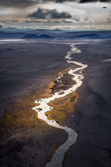 Aerial of Jokulsa river a fjollum, Iceland