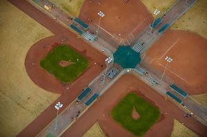Aerial view over baseball fields.