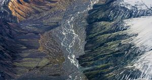 Aerial view of river bed in a valley, Iceland