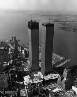 Aerial view of the Twin Towers of the World Trade Center Construction