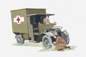 Illustration of 1st World War ambulance manned by two nurses, one checking or repairing