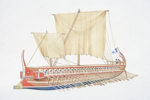 Ancient Greece, wooden sailing boat with two large sails