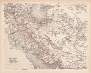 Ancient map of Persia, lithograph, published in 1877
