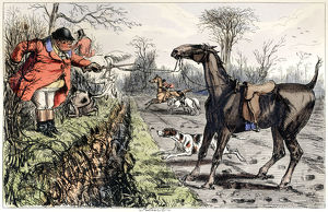 Angry foxhunting man whose horse is refusing a jump