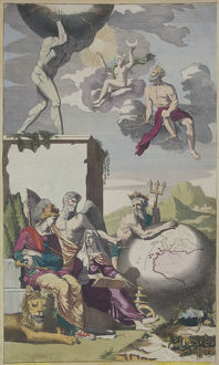 Historical engraving depicting mythical figures