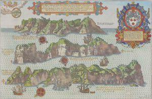 Antique print depicting islands with ships