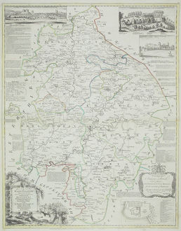 Antique map of county of Warwickshire in England