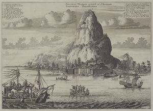 Antique print of temple at base of mountain island in Asia