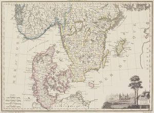 Antique map of Scandinavia and Denmark