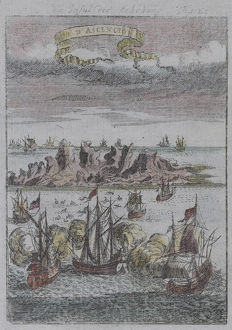 Engraving depicting sea battle with armada