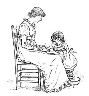Antique children spelling book illustrations: Writing