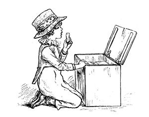 Antique children spelling book illustrations: Eating biscuit